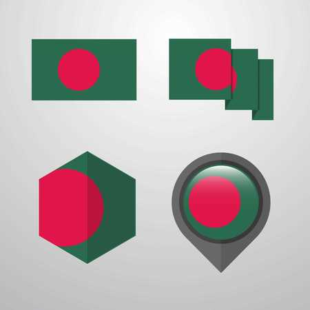 Bangladesh flag design set vector
