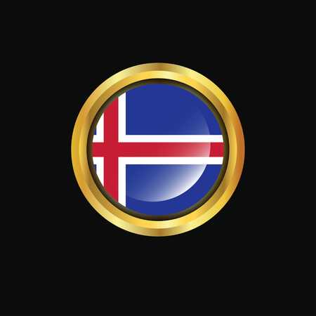 Iceland flag Golden button