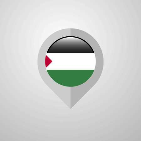Map Navigation pointer with Palestine flag design vector