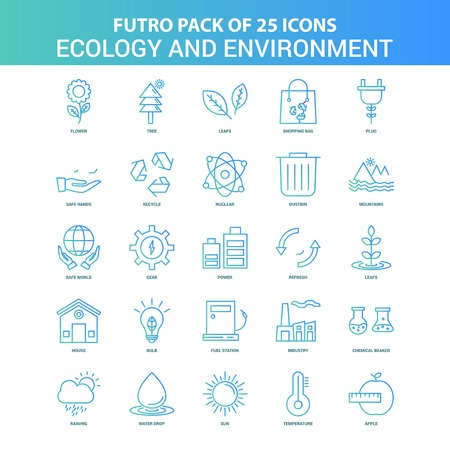 25 Green and Blue Futuro Ecology and Enviroment Icon Pack