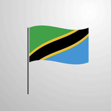 Tanzania waving Flag Çizim