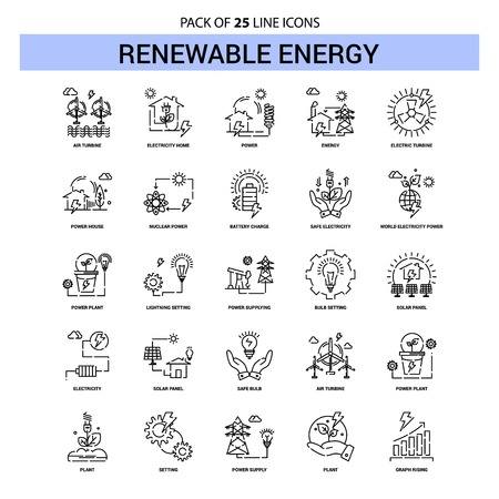 Renewable Energy Line Icon Set - 25 Dashed Outline Style Standard-Bild - 118296148