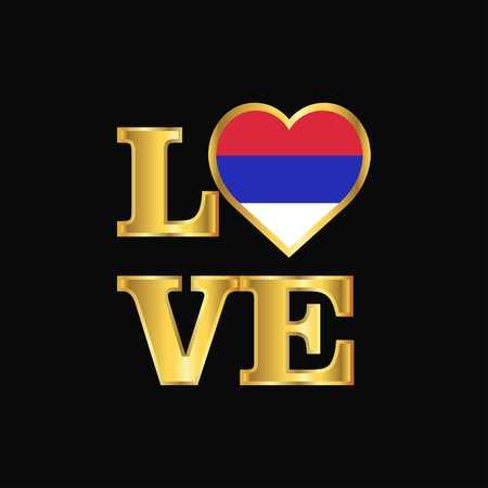 Love typography Republika Srpska flag design vector Gold lettering