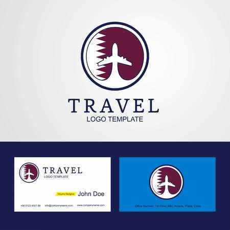 Travel Qatar Creative Circle flag Logo and Business card design