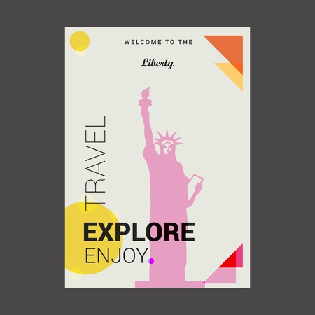 Welcome to The Liberty NewYork , USA Explore, Travel Enjoy Poster Template