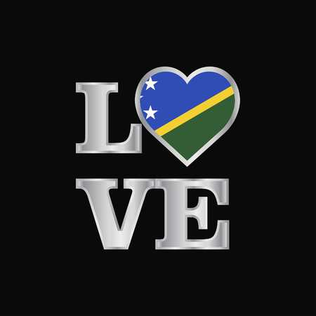 Love typography Solomon Islands flag design vector beautiful lettering