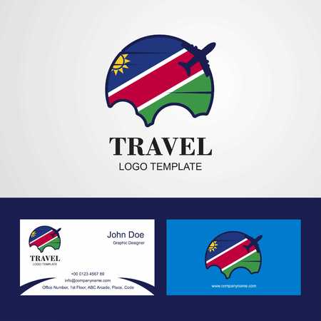 Travel Namibia Flag Logo and Visiting Card Design
