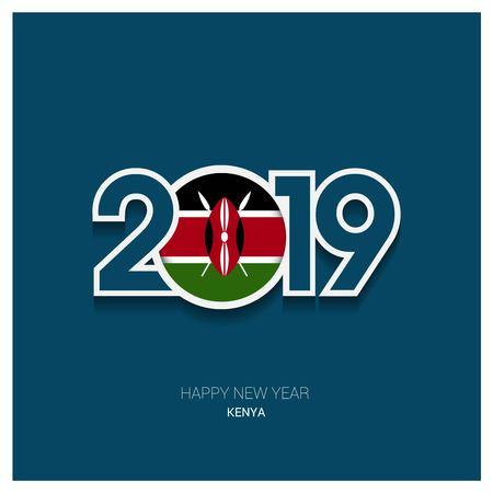 2019 Kenya Typography, Happy New Year Background Illustration