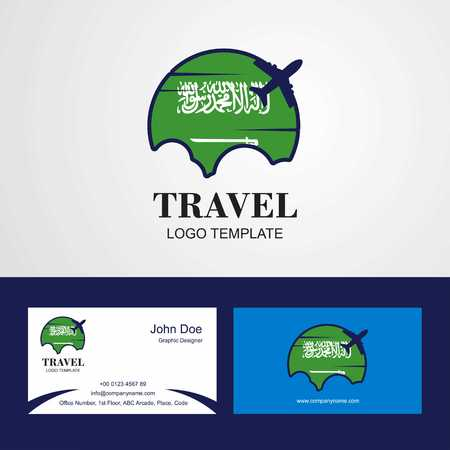 Travel Saudi Arabia Flag Logo and Visiting Card Design