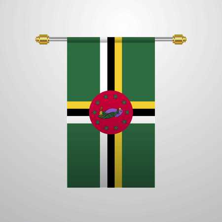 Dominica hanging Flag Vektorové ilustrace