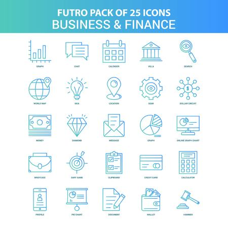 25 Green and Blue Futuro Business and Finance Icon Pack Stock Illustratie