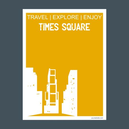 Time Square New York, USA monument landmark brochure Flat style and typography vector