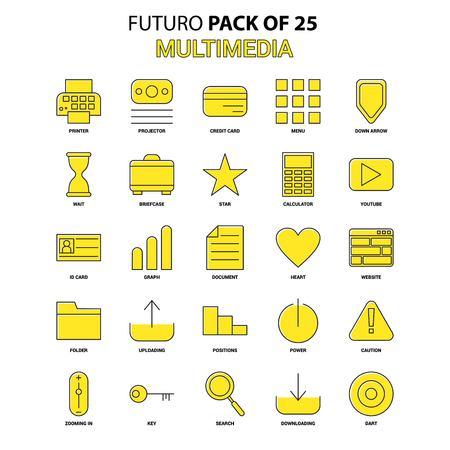 Multimedia Icon Set. Yellow Futuro Latest Design icon Pack