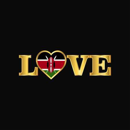 Golden Love typography Kenya flag design vector
