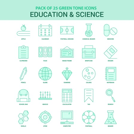 25 Green Education and Science Icon set