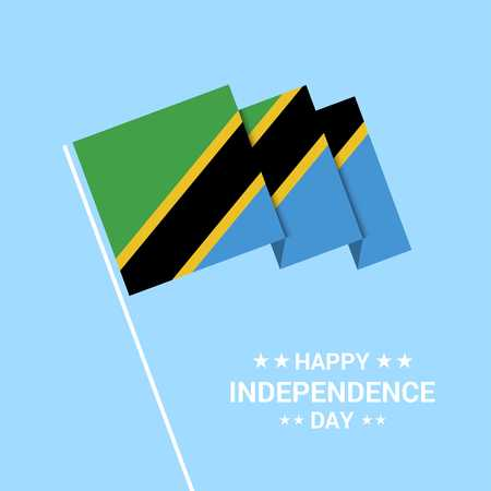 Tanzania Independence day typographic design with flag vector