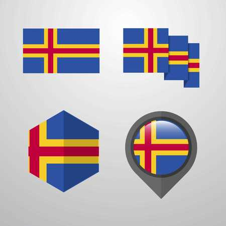 Aland flag design set vector