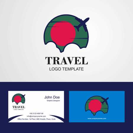 Travel Bangladesh Flag Logo and Visiting Card Design