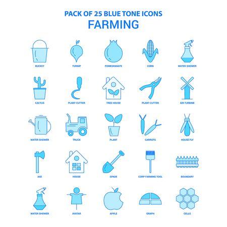 Farming Blue Tone Icon Pack - 25 Icon Sets Ilustracja