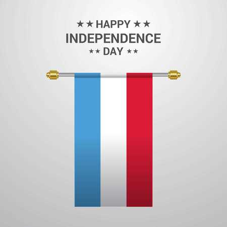 Luxembourg Independence day hanging flag background