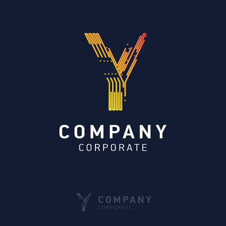 Y company logo design with visiting card vector Çizim