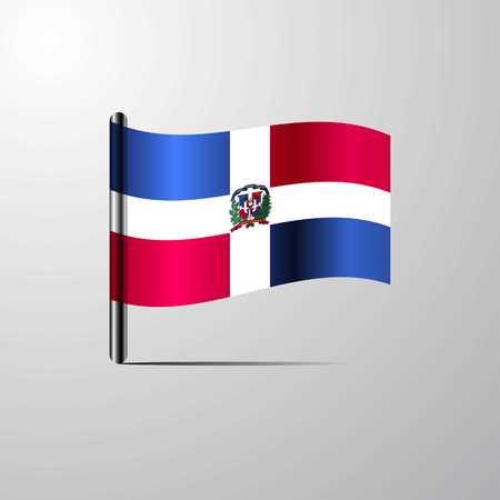 Dominican Republic waving Shiny Flag design vector Vektoros illusztráció