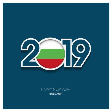 2019 Bulgaria Typography, Happy New Year Background