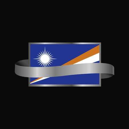 Marshall Islands flag Ribbon banner design Çizim