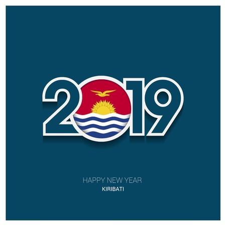 2019 Kiribati Typography, Happy New Year Background Illustration