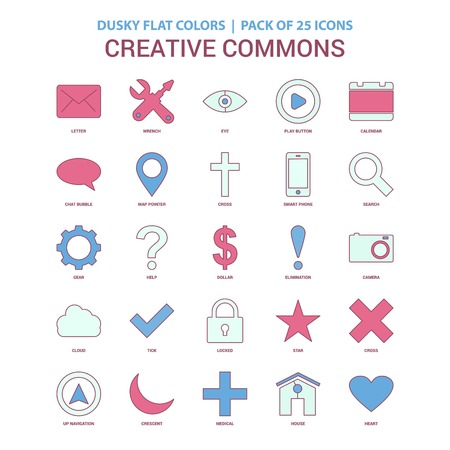 Creative Commons icon Dusky Flat color - Vintage 25 Icon Pack