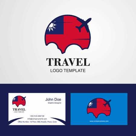 Travel Taiwan Flag Logo and Visiting Card Design