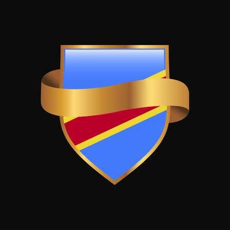 Comoros flag Golden badge design vector