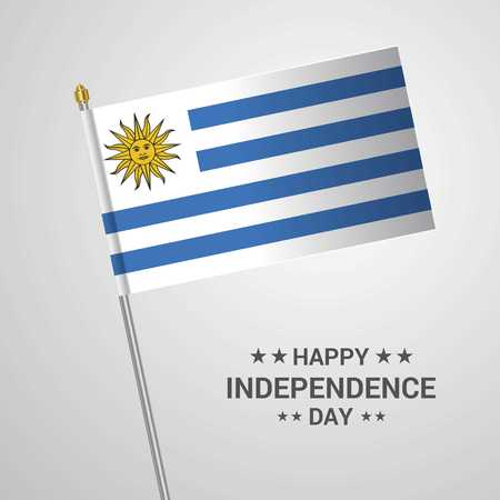 Uruguay Independence day typographic design with flag vector