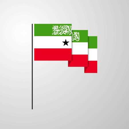Somaliland waving Flag creative background Illustration