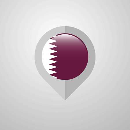 Map Navigation pointer with Qatar flag design vector Stock Vector - 118296586