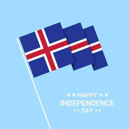Iceland Independence day typographic design with flag vector Ilustração