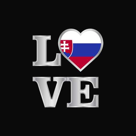 Love typography Slovakia flag design vector beautiful lettering