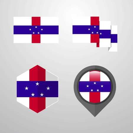 Netherlands Antilles flag design set vector