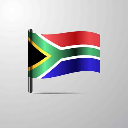 South Africa waving Shiny Flag design vector Illustration