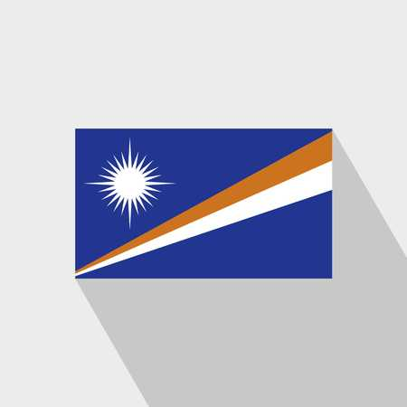 Marshall Islands flag Long Shadow design vector Çizim
