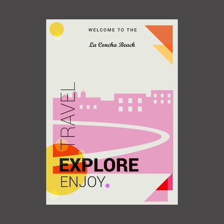 Welcome to The La Concha Beach, Spain Explore, Travel Enjoy Poster Template