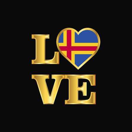 Love typography Aland flag design vector Gold lettering