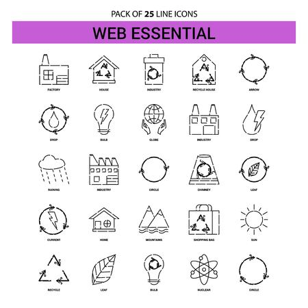 Web Essential Line Icon Set - 25 Dashed Outline Style Illustration