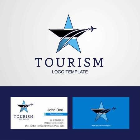 Travel Botswana flag Creative Star Logo and Business card design