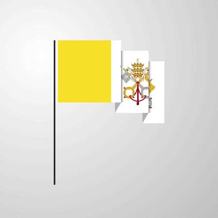 Vatican City Holy See waving Flag creative background