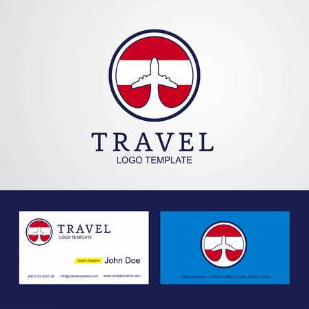 Travel Austria Creative Circle flag Logo and Business card design Illustration
