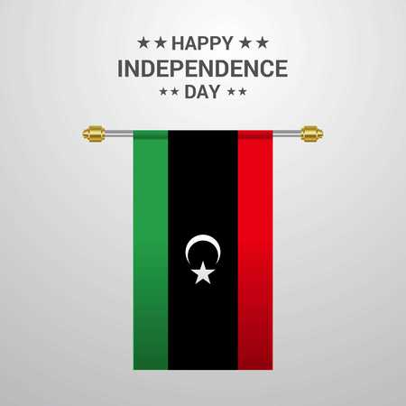Libya Independence day hanging flag background