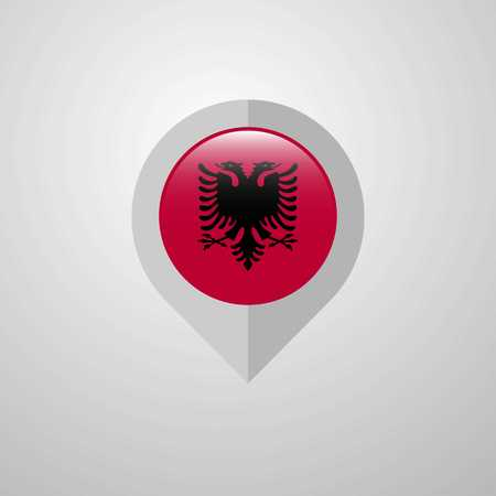 Map Navigation pointer with Albania flag design vector