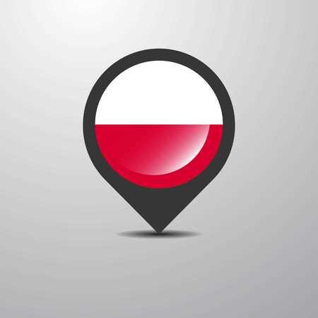 Poland Map Pin Vektoros illusztráció