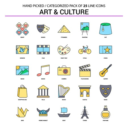 Art and Culture Flat Line Icon Set - Business Concept Icons Design